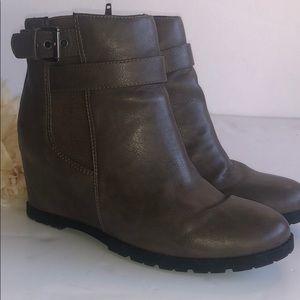 Unisa faux leather wedge booties